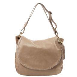 TL Bag Umhängetasche aus weichem Leder mit Quasten Hell Taupe TL141110