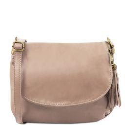 TL Bag Soft leather shoulder bag with tassel detail Light Taupe TL141223