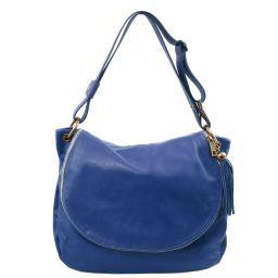 TL Bag Bolso en piel suave con borla y bandolera Azul TL141110