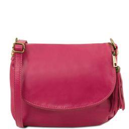 TL Bag Bolso en piel suave con borla y bandolera Fucsia TL141223