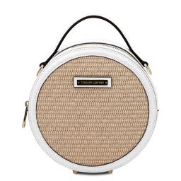 Thelma Straw effect round bag White TL142090