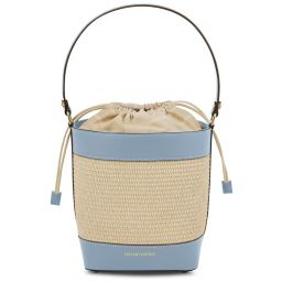 Louise Straw effect bucket bag Светло-голубой TL142091