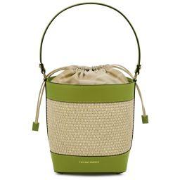 Louise Straw effect bucket bag Green TL142091