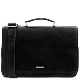Mantova Leather multi compartment TL SMART briefcase with flap Black TL142068