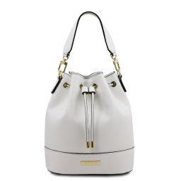 TL Bag Sac secchiello pour femme en cuir Blanc TL142083