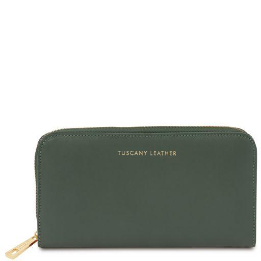 Venere Esclusivo portafogli in pelle da donna con zip su 3 lati e soffietti Verde Foresta TL142085
