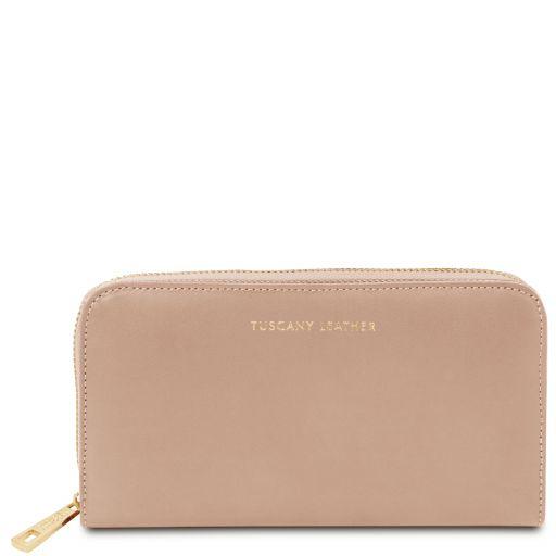 Venere Esclusivo portafogli in pelle da donna con zip su 3 lati e soffietti Champagne TL142085