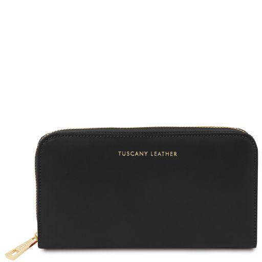 Venere Elégant portefeuille en cuir avec 3 poches soufflets et fermeture glissière Noir TL142085