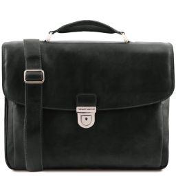 Alessandria Leather multi compartment TL SMART laptop briefcase Black TL142067