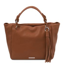 TL Bag Borsa shopping in pelle morbida Cognac TL142048