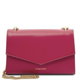 Fortuna Leather clutch with chain strap Fuchsia TL141944