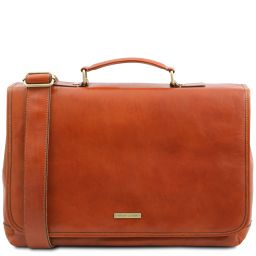 Mantova Leather multi compartment TL SMART briefcase with flap Honey TL142068