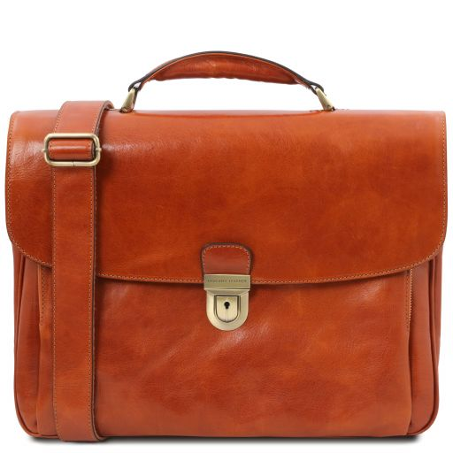 Alessandria Leather multi compartment TL SMART laptop briefcase Honey TL142067