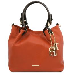 TL KeyLuck Borsa shopping in pelle morbida Brandy TL141940
