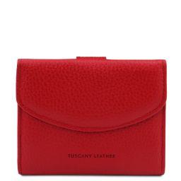 Calliope Esclusivo portafoglio donna in pelle 3 ante con portaspiccioli Rosso Lipstick TL142058