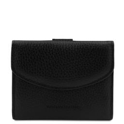 Calliope Exklusive Damenbrieftasche aus Leder mit 3 Scheinfächern und Münzfach Schwarz TL142058