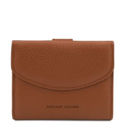 Calliope Exclusive 3 fold leather wallet for women with coin pocket Cognac TL142058