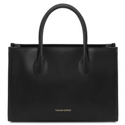 Letizia Leather shopping bag Black TL142040