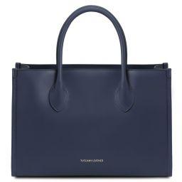 Letizia Borsa shopping in pelle Blu scuro TL142040