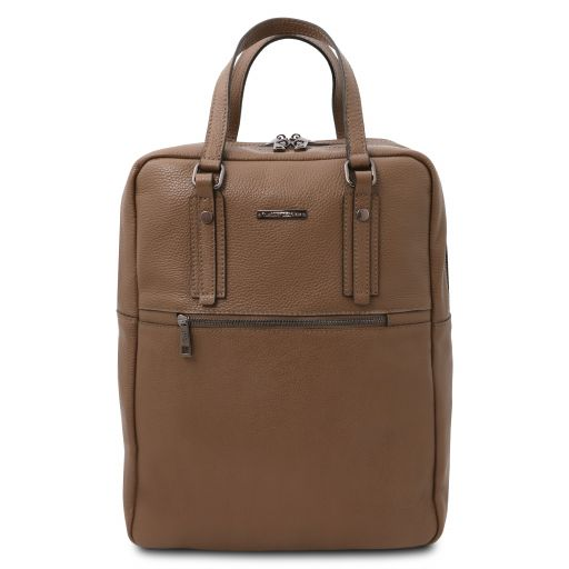 TL Bag 2 Compartments soft leather backpack Dark Taupe TL142136