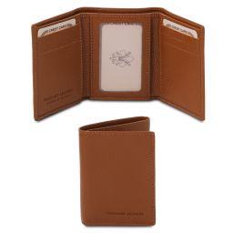 Esclusivo portafoglio in pelle morbida a 3 ante Cognac TL142086