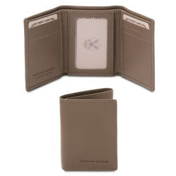Exclusive soft 3 fold leather wallet Dark Taupe TL142086