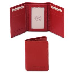 Exclusive soft 3 fold leather wallet Lipstick Red TL142086