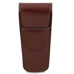 Elegante porta penne 2 posti/porta orologio in pelle Marrone TL142130