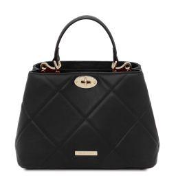 TL Bag Sac à main en cuir souple matelassé Noir TL142132