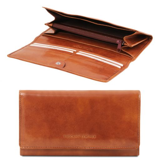 Exclusive leather accordion wallet for women Honey TL140787