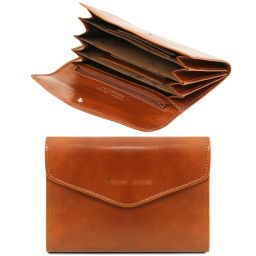Exclusive leather accordion wallet for women Honey TL140786