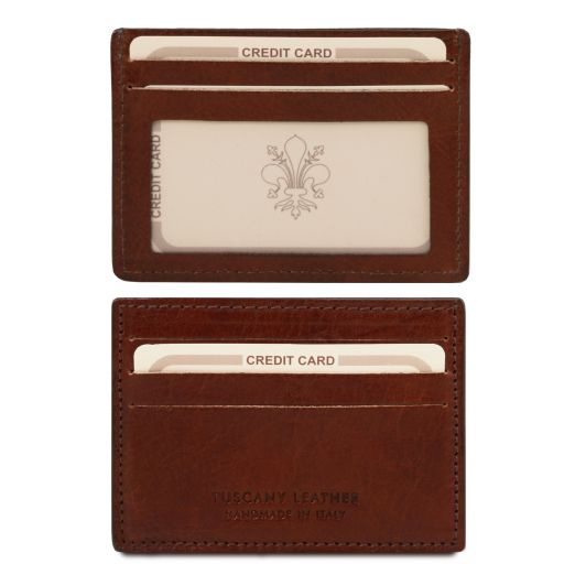 Exclusive leather credit/business card holder Brown TL140805