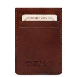 Elegante porta tarjetas de credito en piel Marrón TL140806