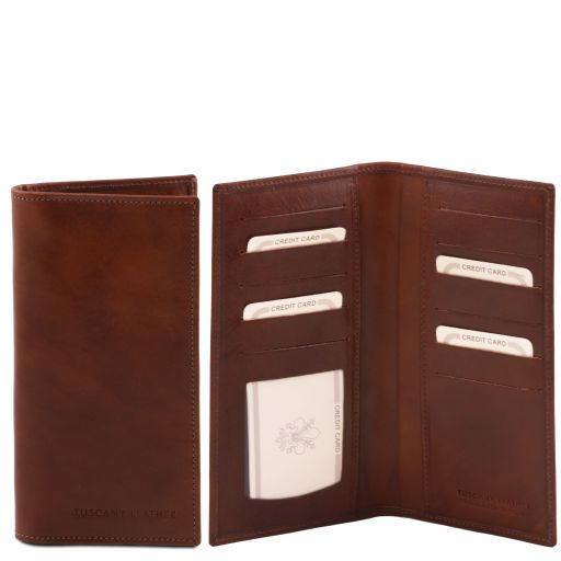Exclusive vertical 2 fold leather wallet Brown TL140784