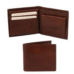 Esclusivo portafoglio uomo in pelle 3 ante con portaspiccioli Marrone TL141377