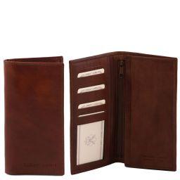 Esclusivo portafoglio verticale in pelle uomo 2 ante Marrone TL140777