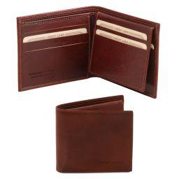 Эксклюзивный кожаный бумажник тройного сложения для мужчин Коричневый TL141353