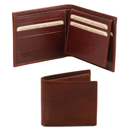 Exclusive 3 fold leather wallet for men Brown TL141353