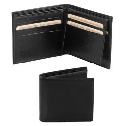 Exclusive 3 fold leather wallet for men Black TL141353