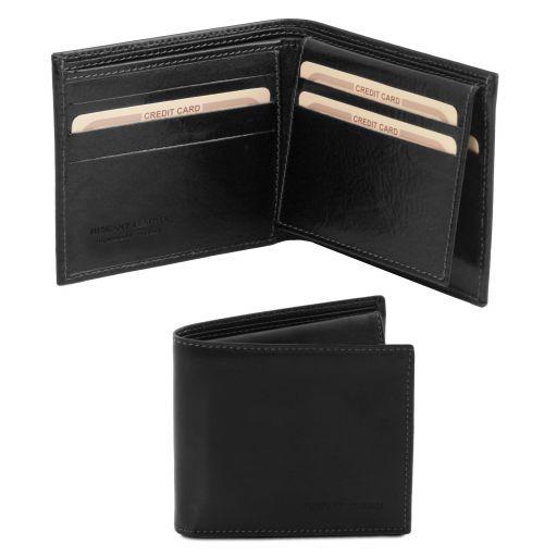Exklusive Herren Brieftasche aus Leder mit 3 Scheinfächern und Ausweisfach Schwarz TL141353