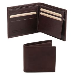 Exclusive 3 fold leather wallet for men Dark Brown TL141353