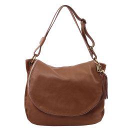 TL Bag Sac bandoulière besace en cuir souple avec pompon Cannelle TL141110
