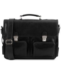 Ventimiglia Leather multi compartment TL SMART briefcase with front pockets Черный TL142069
