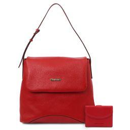 Capri Borsa a spalla in pelle morbida e portafoglio in pelle 3 ante con portaspiccioli Rosso Lipstick TL142150