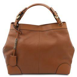 Ambrosia Bolso shopping en piel suave con bandolera Cognac TL142143