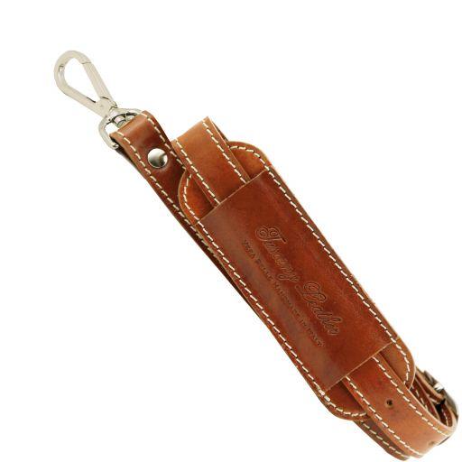 Adjustable travel bag leather shoulder strap Honey SP141028