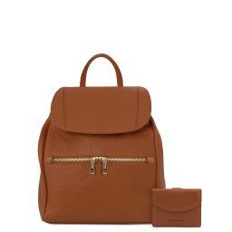 Elba Sac à dos pour femme en cuir souple et portefeuille en cuir avec 3 volets et porte monnaie Cognac TL142153