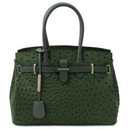 TL Bag Borsa a mano in pelle stampata effetto struzzo Verde Foresta TL142120