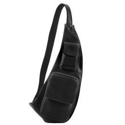 Brusttasche aus Leder Schwarz TL141352