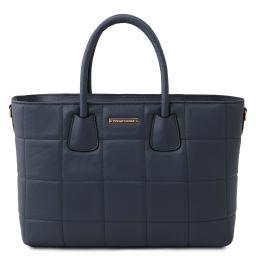 TL Bag Bolso a mano en piel suave acolchado Azul oscuro TL142124